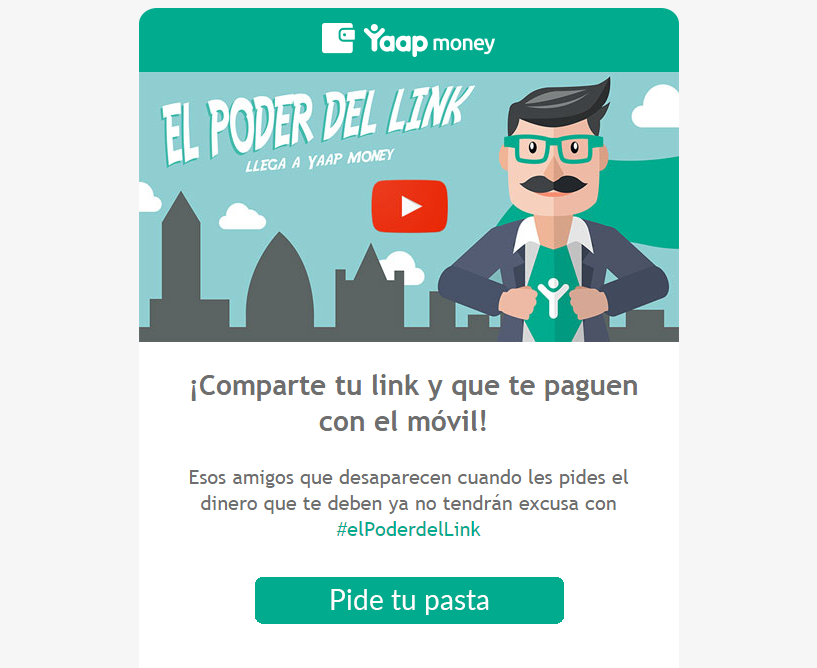 Captura de la newsletter de el poder del link para Yaap money