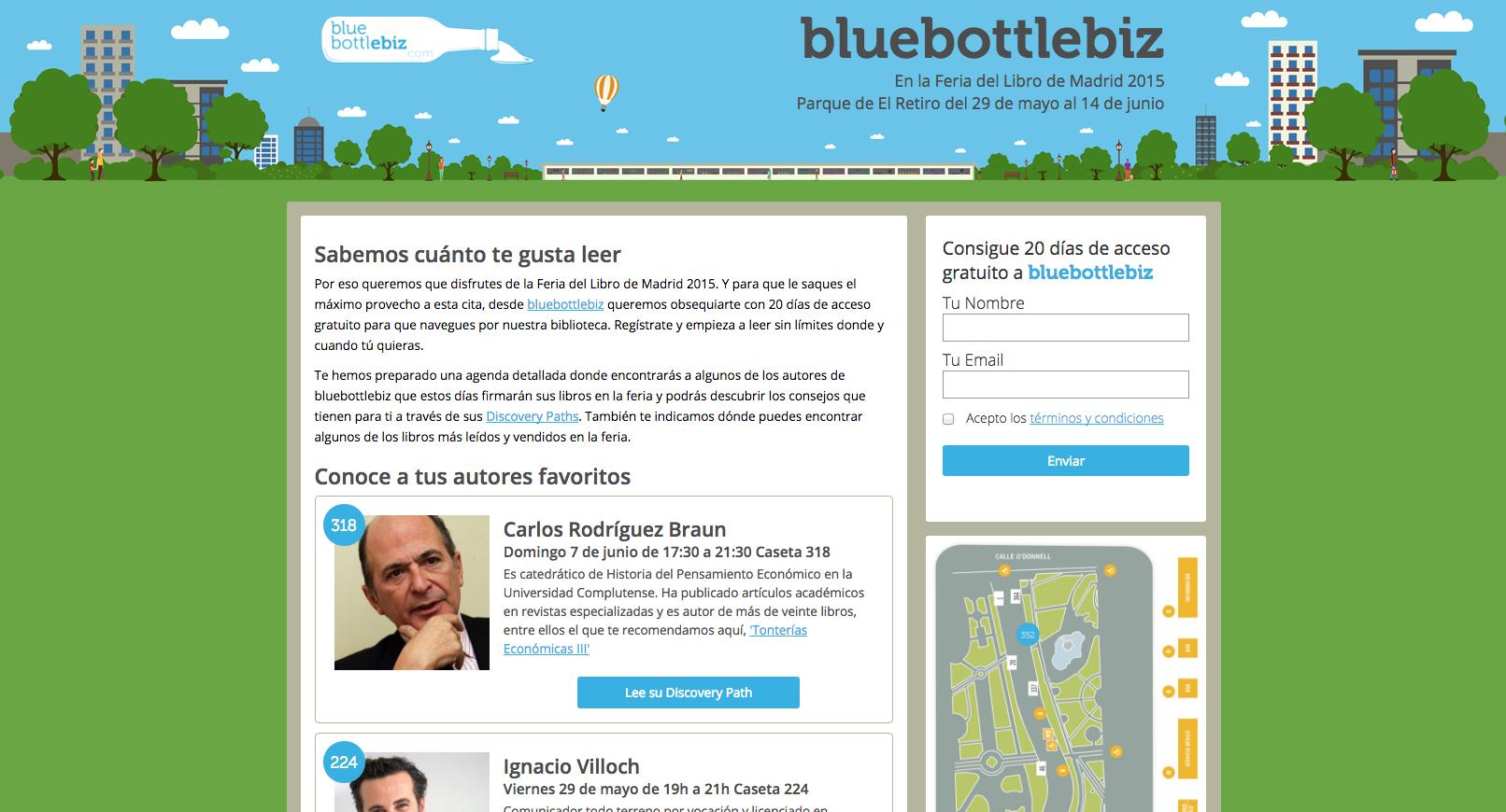 Captura de la landing page de la campaña flm2015 para bluebottlebiz