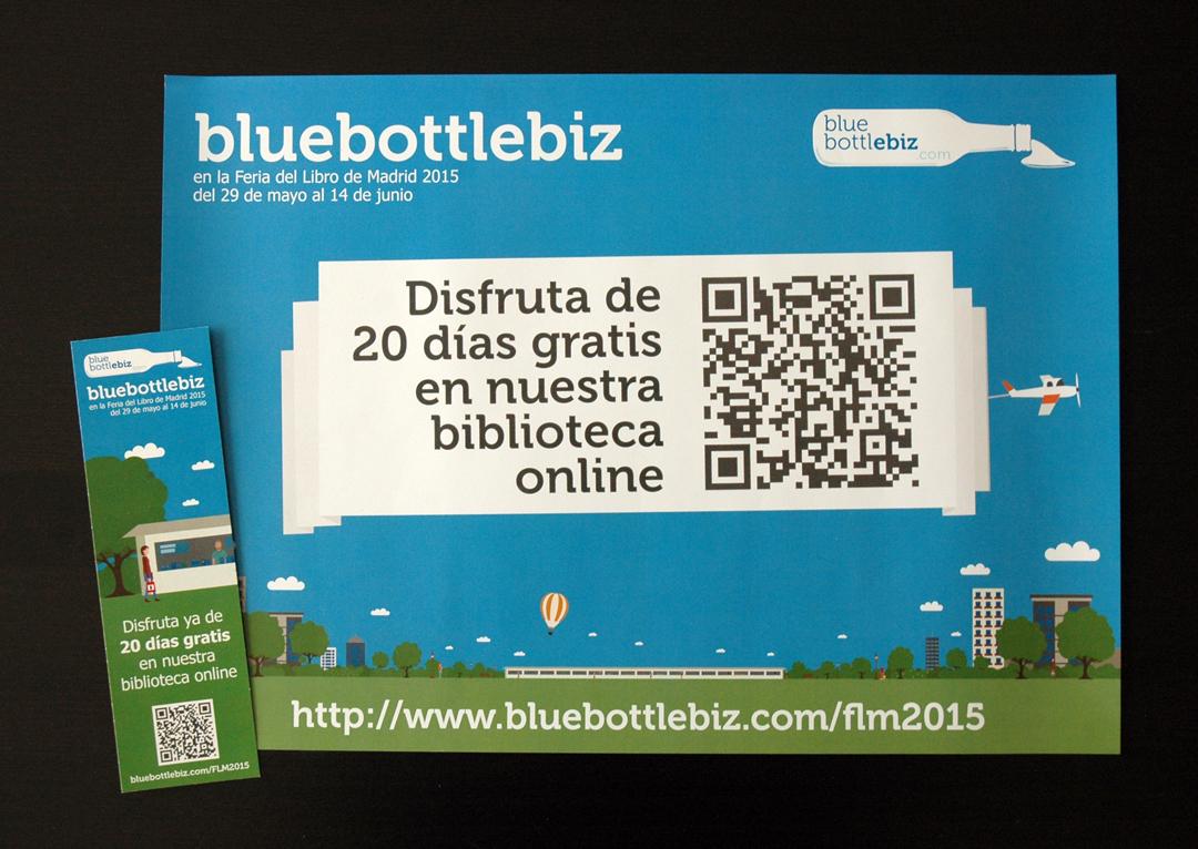 Cartel y marcapáginas de la campaña flm2015 realizada para bluebottlebiz