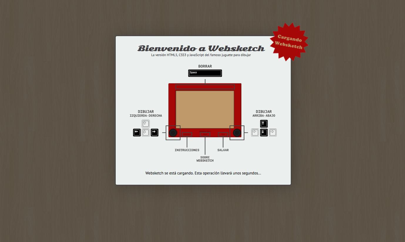 Captura de la pantalla de instrucciones del proyecto Websketch: La versión html5, css y javascript del famoso juguete para dibujar