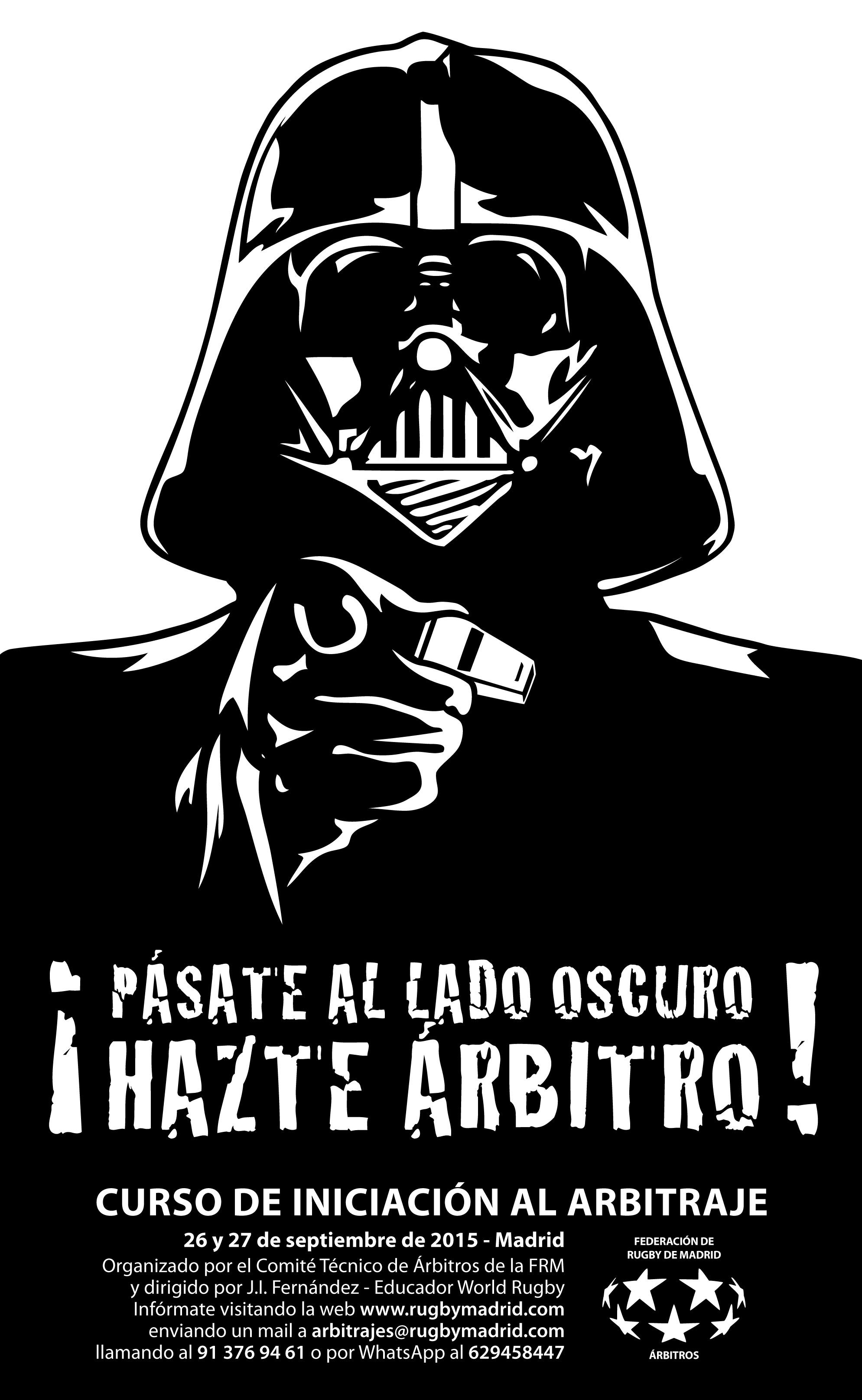 Cartel para el curso de arbitraje de la FRM basado en el personaje de Darth Vader