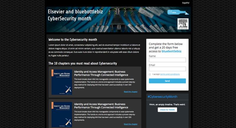 Captura de la landing page de la campaña cybersecurity month realizada para bluebottlebiz en colaboración con Elsevier