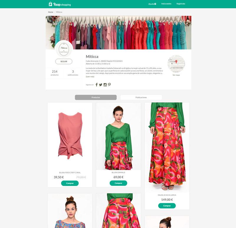 Captura de un microsite de la plataforma Yaap shopping